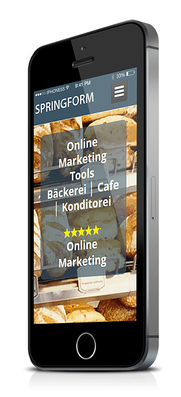 iPhone 5s mit Online Marketing Tools Bäckerei Cafe Konditorei